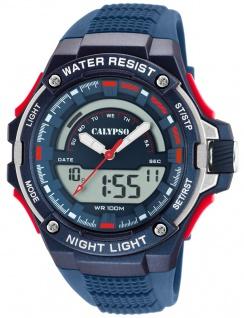 Calypso Digital Armbanduhr PU-Band blau Kunststoff Quarzwerk Analog Digitaluhr K5768/3 K5768