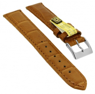 Herzog Uhrenarmband Echt Alligator Leder Band honigbraun 18mm