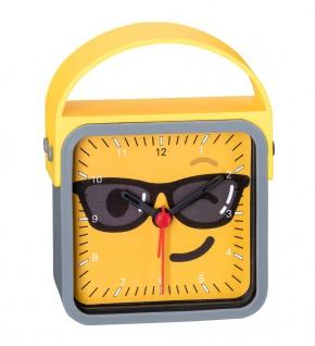 Wecker Kinderwecker gelb-grau Alarm Analog Kunststoff mit schleichende Sekunde