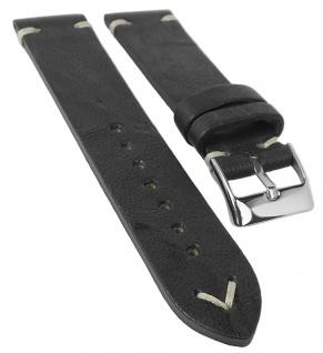 Herzog Parma Uhrenarmband | Leder schwarz mit Ziernaht 33670