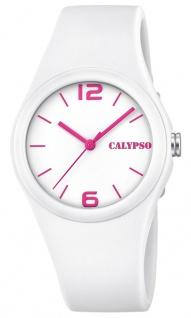 Calypso Damenarmbanduhr gut lesbar Quarzuhr Analoguhr Kunststoffuhr weiß mit weichem Silikonband K5742/1