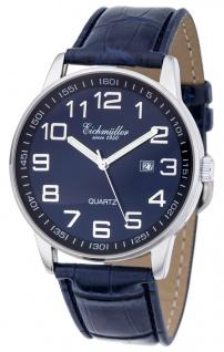 Herren Armbanduhr | Quartzuhr mit Datum | Lederband > blau | Ziffernblatt > blau/schwarz > 36275