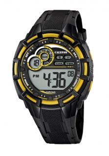 Calypso Armbanduhr Herrenuhr Digitaluhr Chrono schwarz/Gelb 10 ATM K5625/6