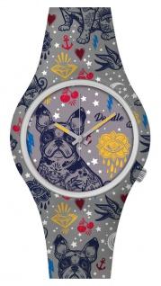 DOODLE WATCH Armbanduhr für SIE& IHN Ø 39mm Silikon grau/bunt Bulldogge DOAR004