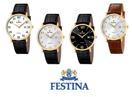 Festina Herrenarmbanduhr Quarzuhr Analog Edelstahl IP gelb mit Lederarmband und Datumsanzeige alle Modelle F16478