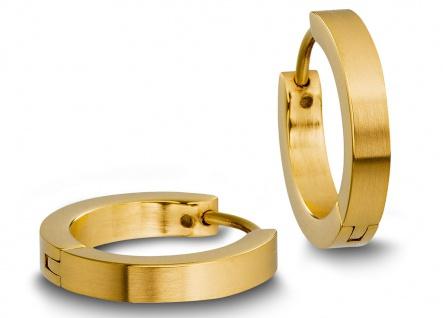Minott Edelstahl Damen Ohrschmuck Ohrringe Creolen | gelbgoldfarben, schlicht satiniert 31437