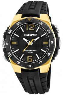 Calypso analoge Herrenuhr | Kunststoff Gehäuse-, & Band > goldfarben akzentuiert K5778/5