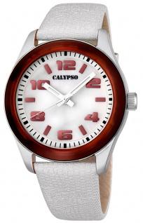 Calypso Damenarmbanduhr Quarzuhr Kunststoffuhr mit Leder/Textilband analog K5653
