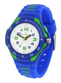 Alpha Saphir 393E Kinderuhr analog Uhr blau Armbanduhr Kunststoff Quarzuhr 35036