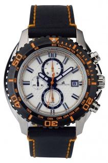 Adora Nautic Chronograph Herrenarmbanduhr Lederband orange Akzente Ø 46mm