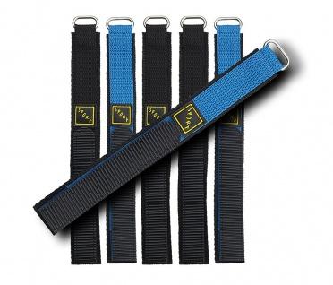 Minott Uhrenarmband Klettband Sport   Textiles Sportband in schwarz oder schwarz/blau 18mm