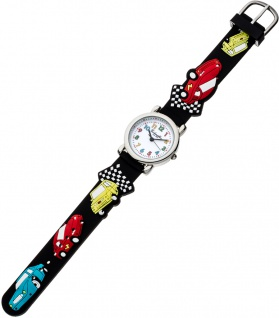 Eichmüller Kinderuhr analog Uhr schwarz Armbanduhr Edelstahl Silikon Automuster 34977