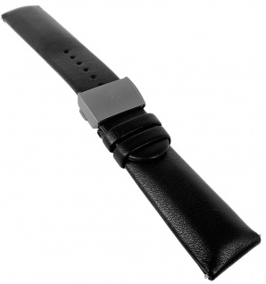 Junghans Vista Titan Ersatzband 22mm Leder schwarz Faltschließe mit Logo 027/2411 027/2409