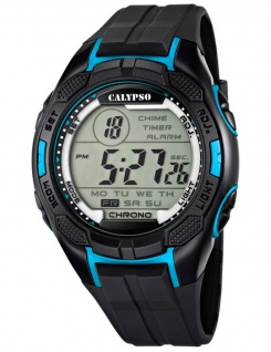 Calypso Armbanduhr Herrenuhr Digitaluhr Chrono schwarz/Blau 10 ATM K5627/2