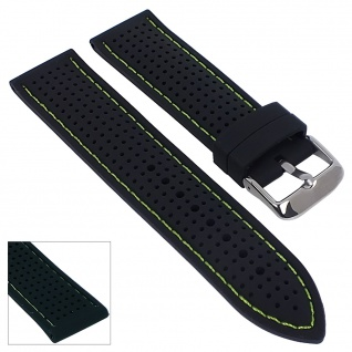 Minott Uhrenarmband Silikon Band 22mm schwarz mit farbigen Kontrastnaht 29694 - Vorschau 5