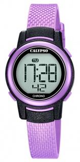 Calypso Kinderarmbanduhr Quarzuhr digital Kunststoffuhr lila mit Stoppfunktion Alarm Licht K5736/4