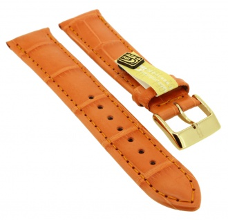 Uhrenarmband | aus echtem Louisiana Krokoleder | orange | 35359