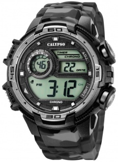 Calypso   Herrenarmbanduhr Quarzuhr Digitaluhr Kunststoffuhr mit Alarm Stoppuhr schwarz/grau K5723/3