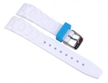 Minott Uhrenarmband Silikon Weiß mit blauer Schlaufe 24mm passend zu Watch