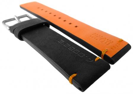 Hugo Boss Orange Ersatzband 22mm Leder schwarz orange Naht 1550020 1550021