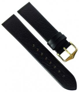 HIRSCH | Uhrenarmband > Leder, schwarz ohne Naht, genarbt > Dornschließe | Standard-Länge | 36525