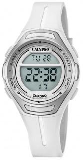 Calypso | Damenarmbanduhr Quarzuhr Digitaluhr Kunststoffuhr mit Alarm Stoppfunktion silbern/weiß K5727/1