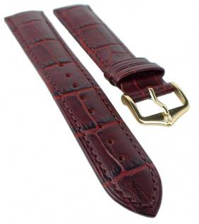 HIRSCH DUKE L | Uhrenarmband italienisches Leder / Alligatorprägung / Weinrot 31021