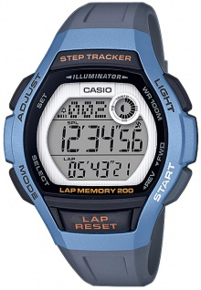Casio Collection Kinder Quarzuhr grau/blau Stoppfunktion Resin LWS-2000H-2AVEF