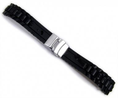 Uhrenarmband Silikon Minott Rubber Diver Ersatzband Band schwarz Wasserfest 20976S