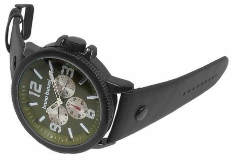 Bruno Banani Trenos Herren Armbanduhr Lederband schwarz 3ATM Analog Quarz BR30032