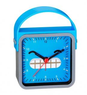 Wecker Kinderwecker Alarm Analog Kunststoff blau-grau mit schleichende Sekunde