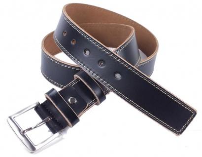 Minott Herren Gürtel aus Spaltleder mit Zier-Doppelnaht 3, 8cm schwarz Si-22178