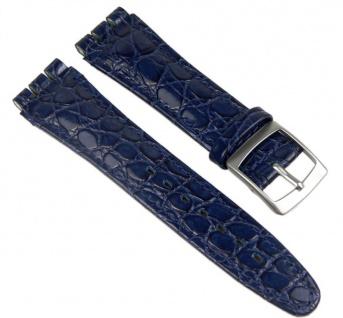 Minott Uhrenarmband Leder Band Dunkelblau passend zu Swatch Uhren 19mm 19932S