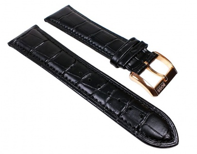 Hugo Boss Uhrenarmband Leder Band Schwarz 24mm passend zu 1512653