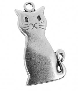 Minott Kette Schmuck Anhänger Katze Messing im Used Look 27969