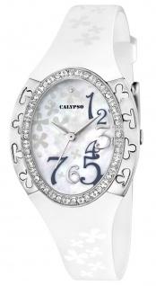 Calypso Damenarmbanduhr Quarzuhr Kunststoffuhr mit Polyurethanband und Glitzersteinchen analog K5642