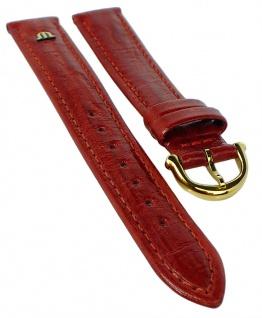 Maurice Lacroix Ersatzband aus Kalbsleder mit Emblem in rot mit Ton in Ton Naht 33131