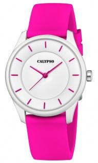 Calypso Damenarmbanduhr Quarzuhr Analoguhr Kunststoffuhr pink mit weichem Silikonband K5733/4