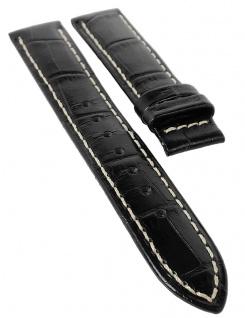 Jaguar Ersatzband 17mm Uhrenarmband Leder Band schwarz Kroko-Optik Kontrastnaht J624/5 J624