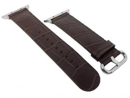 Morellato Uhrenarmband passend zu Apple Watch 42mm Leder dunkelbraun - Vorschau 1