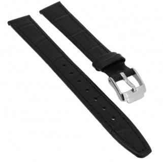 Jacques Lemans Ersatzband 14mm Uhrenarmband schwarz Leder Kroko - Optik 1-1612
