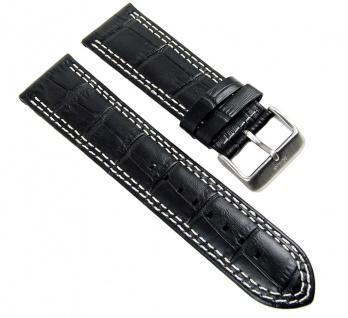 Uhrenarmband Leder Band 24mm schwarz in Kroko-Optik s.Oliver SO-2201-LQ