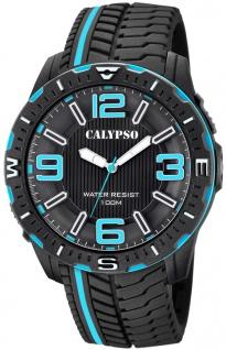 Calypso Herrenuhr analog Armbanduhr schwarz Kunststoff Uhr PU-Band Quarzuhr K5762/2 K5762