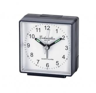 Wecker Reisewecker Alarm Analog Kunststoff schwarz/weiß eckig mit schleichende Sekunde