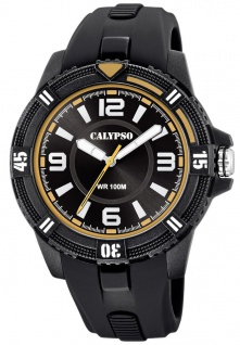 Calypso Herrenarmbanduhr analoge Quarzuhr aus Kunststoff mit linksdrehbarer Lünette schwarz K5759/3