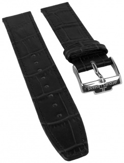 Jacques Lemans Uhrenarmband Ersatzband Leder mit Krokoprägung 19mm schwarz sehr dünn für JL 40-1