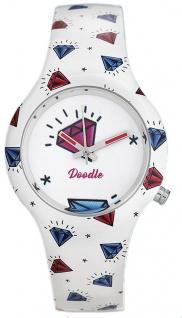 DOODLE WATCH Armbanduhr für SIE Ø 35mm Silikon weiß/bunt Americans Mood DO35003