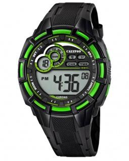 Calypso Armbanduhr Herrenuhr Digitaluhr Chrono schwarz/Grün 10 ATM K5625/3