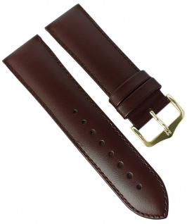 HIRSCH | Uhrenarmband > Leder, braun mit Naht > Dornschließe | Standard-Länge | 36444