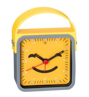 Wecker Kinderwecker Alarm Analog Kunststoff mit schleichende Sekunde gelb-grau